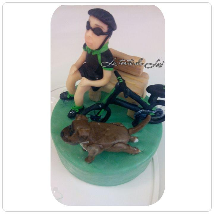 Topper  per cake ..sportivo è inseparabile del suo amico a 4zampe
