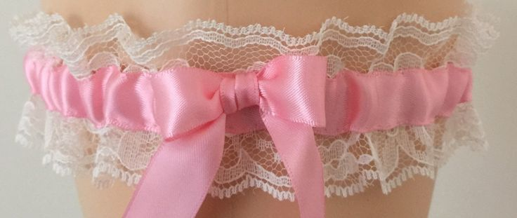 Pink and Ivory Lace Wedding Garter, Bridal Garter, Prom Garter, Garter Belt, Lace Garter, Plus Size Garter