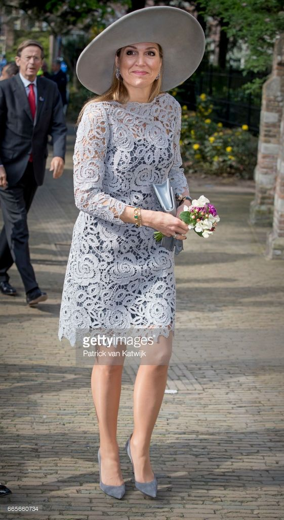 Queen Maxima of the Netherlands opens the exhibition 'Forbidden Porcelain Exclusive for the emperor' at museum Prinsenhof on April 7, 2017 in Delft, The Netherlands. (Photo by Patrick van Katwijk/Getty Images)