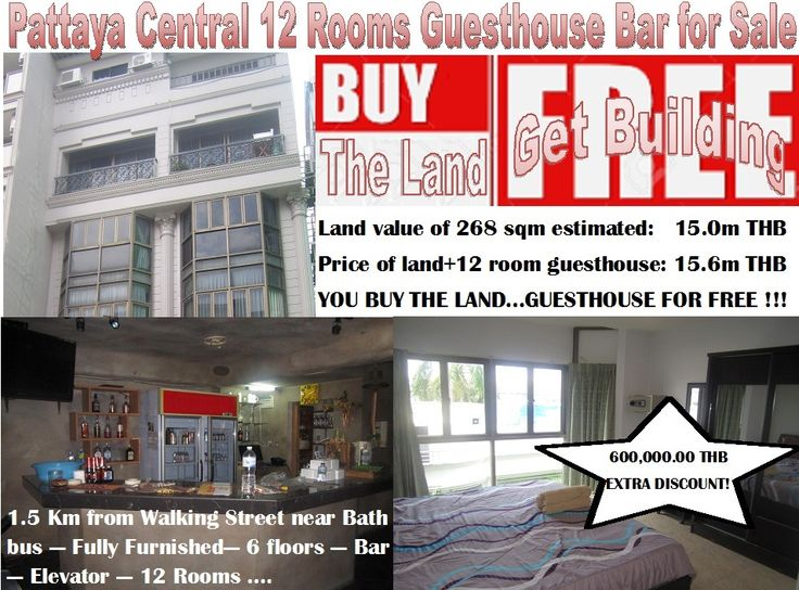 Pattaya Guesthouse Bar Fire Sale: Central Road, 1500 m to Walking Street,  50 m to public transportation, 6 floors, double shop house, ground floor renewed bar with terraces, video wall, fully equipped, kitchen, separated entrance for apartments, key card, elevator, 9 large 1 bedroom units, 2 studio and 1 office, Ltd name, 15,600,000.00 THB - 600,000.00 THB discount, 0800 176 100 or http://www.hotelsforsalethailand.net/pattaya-central-12-rooms-guesthouse-bar-for-sale/
