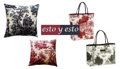 Cojines Toile de Jouy / EbanoDeco . Carteras Longchamp / Colección 2012