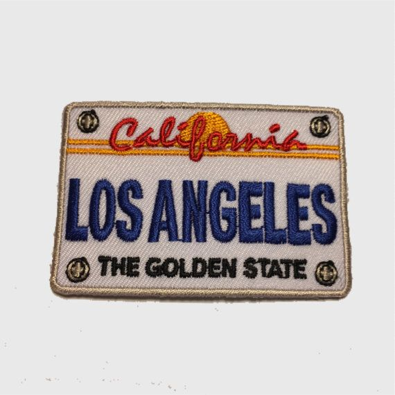 Los Angeles Patch - California License Plate 2.75 wide x 1 13/16 tall High Quality Iron On Collectible