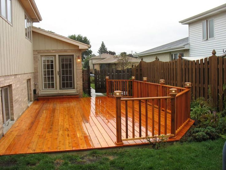 Ground level cedar deck architectual stuff pinterest for Backyard decks