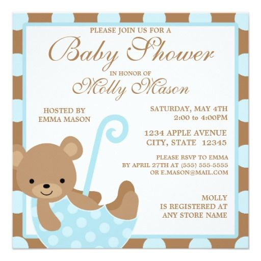 332 best bear baby shower invitations images on pinterest | baby, Baby shower invitations