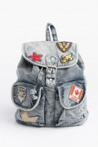 Acid wash denim backpack with patches