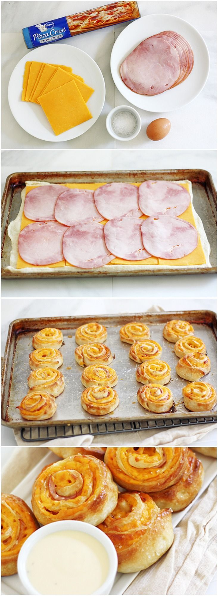 bedek bladerdeeg met ham, cheddar, rol op, snij 2 cm schijven, besmeer met eigeel, gruyère en bak in de oven