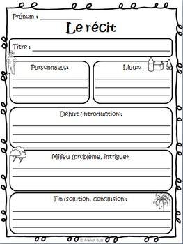 Organisateur graphique gratuit pour les élèves. Unit du récit (texte narratif).