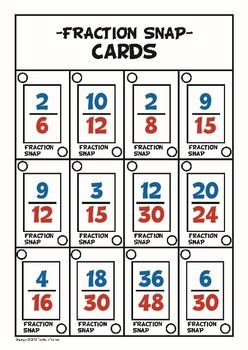 Math Game - Fraction Snap    This game involves playing snap with cards that show equivalent fractions.    Alternatively the cards can also be used to play go fish with equivalent fractions.    Instructions for both games are included.