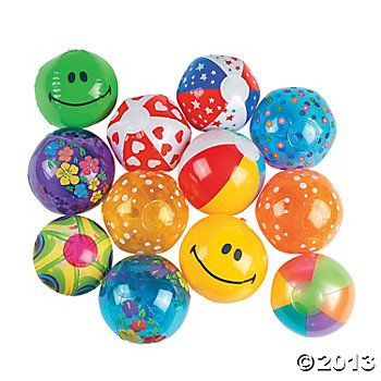 oriental trading inflatable mini balls. $0.40  each bulk purchase of 25 balls. suggest 3 sets(??)  75 TOTAL