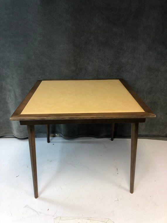 Vintage Wood Folding Table Mid Century Modern Metal Beige Brown