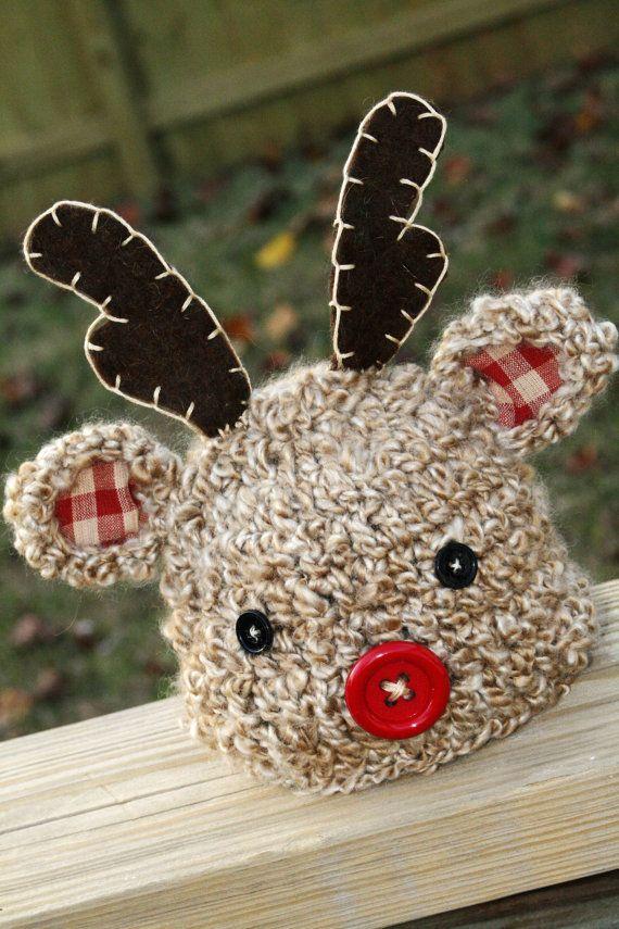 Reindeer Crochet Hat PDF Pattern by ScrapmadeCreations on Etsy