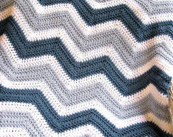 new chevron zig zag crochet knit baby toddler afghan blanket wrap lap wheelchair ripple stripes VANNA WHITE yarn silver blue handmade in USA