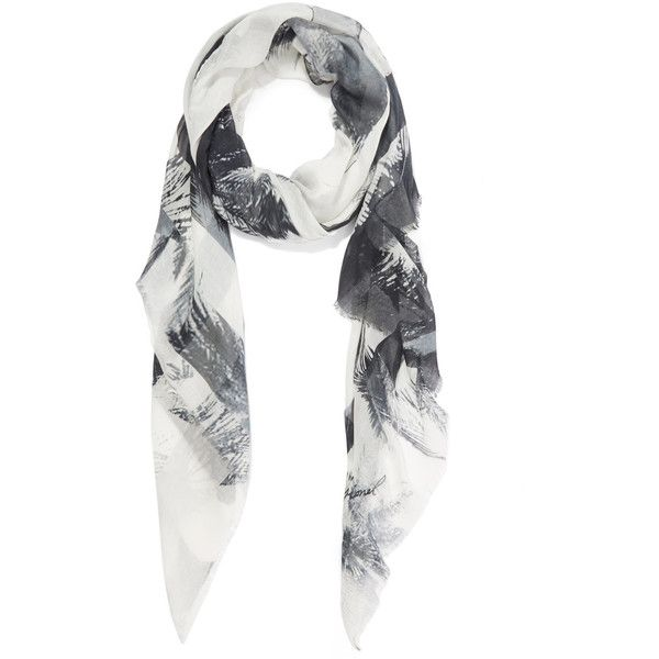 Lily and Lionel Black and White Maya Monochrome Scar ($225) ❤ liked on Polyvore featuring accessories, scarves, lightweight scarves, black and white shawl, patterned scarves, print scarves and lily and lionel
