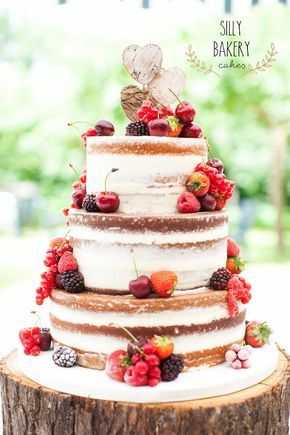 fall naked wedding cake with fruits / http://www.deerpearlflowers.com/whimsical-wedding-cakes-from-silly-bakery/