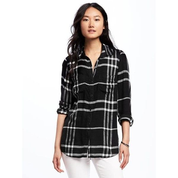 Old Navy Womens Relaxed Plaid Drapey Twill Shirt ($16) ❤ liked on Polyvore featuring tops, black, petite, drape shirt, petite long sleeve tops, old navy, tartan shirts and drape top