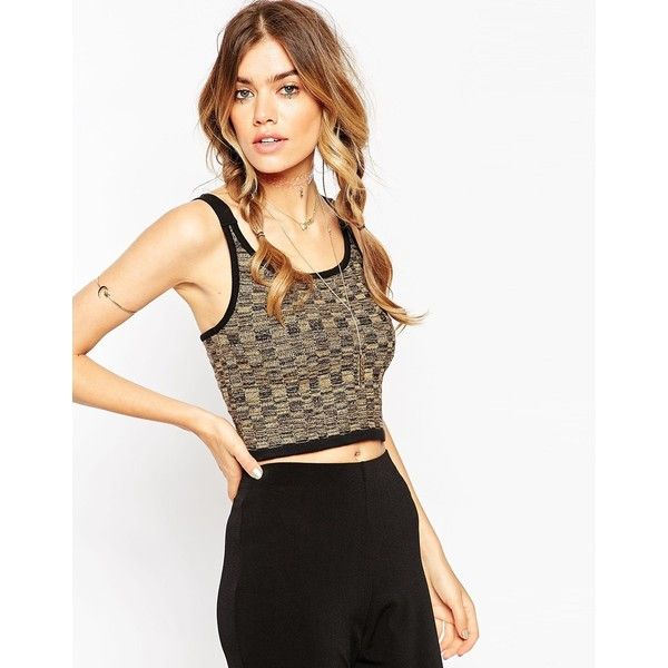 ASOS Metallic Crop Top With Cross Back ($12) ❤ liked on Polyvore featuring tops, gold, white scoop neck top, metallic top, spaghetti-strap top, cross back crop top and crop top