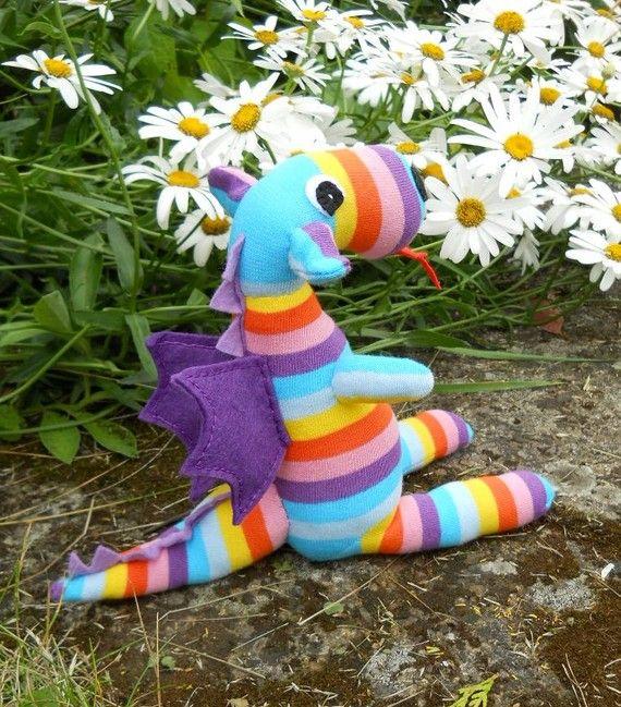 rainbow sock dragon handcrafted sock animal by TreacherCreatures, $20.00