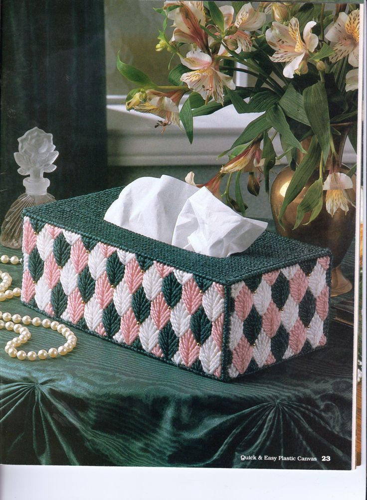 Spring Leaves Tissue Box Cover - long by HappyStitchingFinds on Etsy