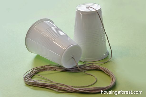 Take a step back in time and make a simple String Telephone with your kids - I remember making & playing with these!