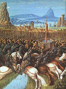Bataille de Hattin. Le 4 juillet 1187, l'armée franque est écrasée et anéantie par celle de Saladin. De nombreux Francs, dont Guy de Lusignan, Gérard de Ridefort, Renaud de Châtillon, qui est immédiatement décapité, sont faits prisonniers