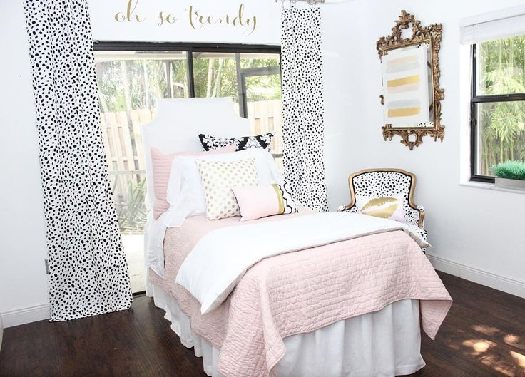Sneak Peek Our Brand New Blush White Pop Of Black Designer Dorm Home Set Find This Pin And More On Boho Bedding Shabby Chic Bedroom
