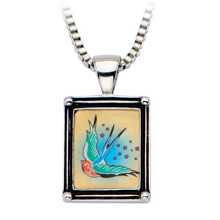 Inox 316L Steel Vintage Aerial Starry Swallow Framed Pendant Necklace