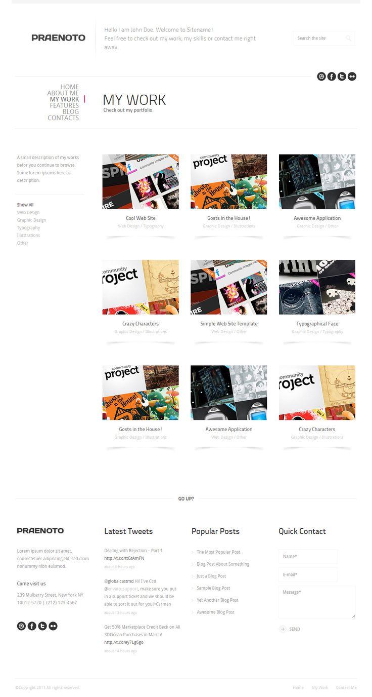 Praenoto - Clean & Minimalist Web Site Template - Screenshot 2. Gallery page with 3 columns.