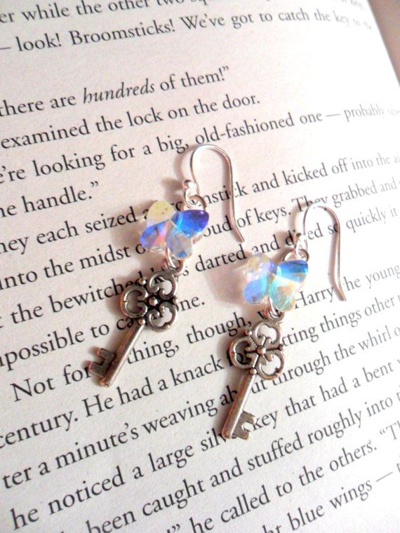 Flying Keys Earrings Intricate clear by HelloSunflowerGirls $15.50