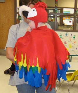 Homemade Parrot Costume. Great for baby in a back carrier with mom/dad as pirate