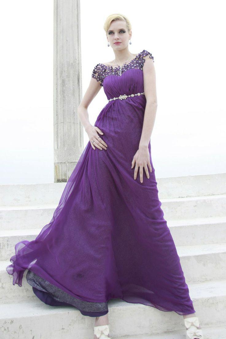 Heart-shaped Neckline Short Sleeves Evening Dress