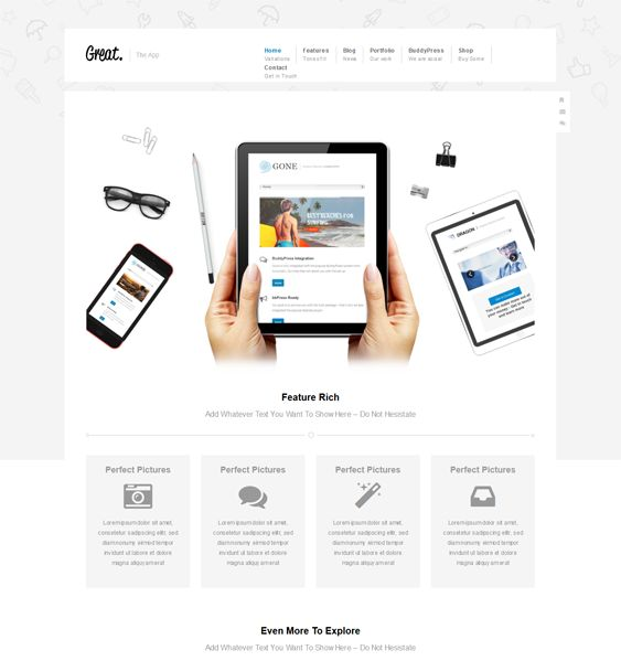 This WordPress theme for promoting apps includes a drag and drop page builder, WooCommerce, WPML, BuddyPress, and bbPress support, Google Fonts, a portfolio, a mega menu, easy color customization, and more.