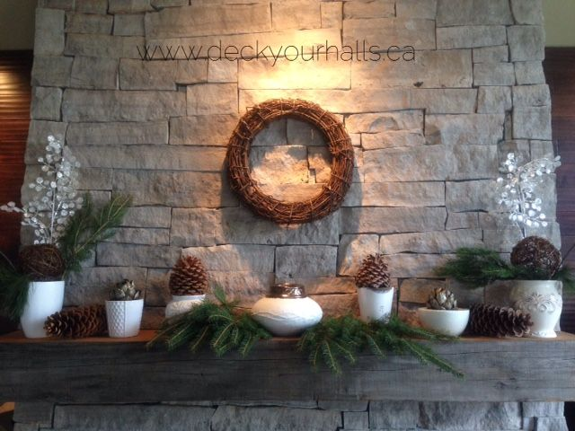 Christmas Fireplace Mantel.  Simple.  White.  Natural. Decorating homes and biz for the Holidays in Toronto.  www.deckyourhalls.ca