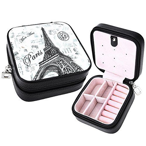 CozyCabin Vintage Small Jewelry Box Organizer Makeup Box Case Leather Rings Earrings Organizer for Travel Outdoor (Eiffel Tower)