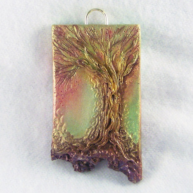 Enchanted Wood - Polymer Clay    Hand sculpted polymer clay art pendant - experimenting with pastel colors. chickengirlcreations