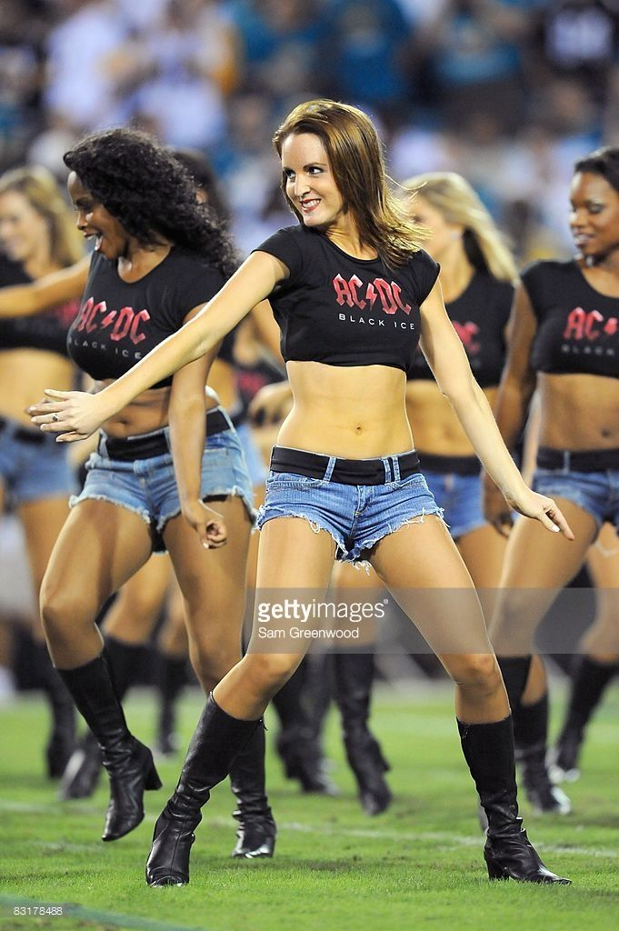 Cheerleaders of the Jacksonville Jaguars perform on the field during the game against the Pittsburgh Steelers at Jacksonville Municipal Stadium on October 5, 2008 in Jacksonville, Florida.