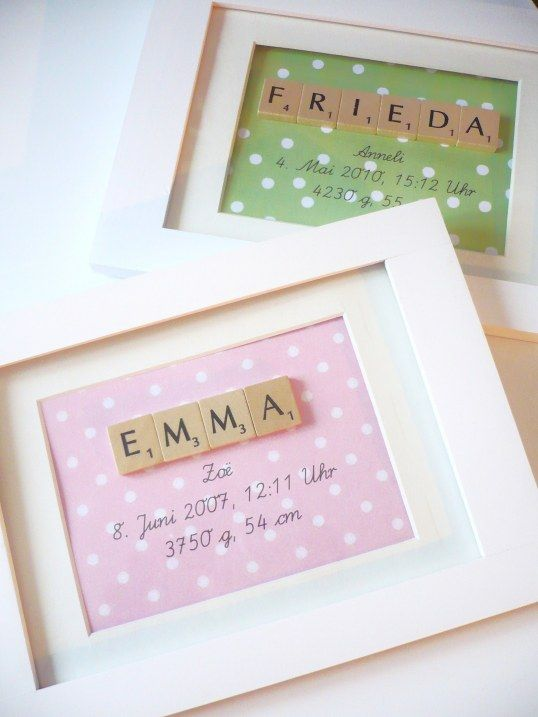 Love this as a baby gift! Our scrabble tiles will do a wonderful job -- http://corks-n-crafts.com