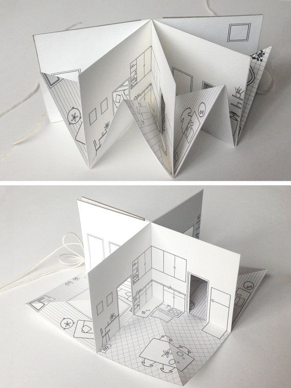 Paper House - small illustrated pop-up book - 3/16 scale