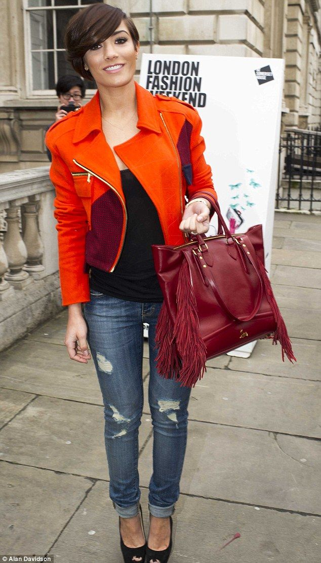 Fashion competition: Frankie Sandford was also at the shows on Friday in a bright jacket
