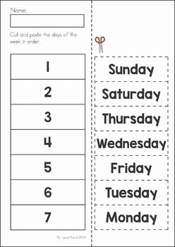 Back to School Math & Literacy Worksheets and Activities No Prep. Cut and paste the days of the week in order.