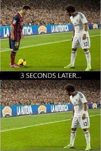 Marcelo stracił z oczu rywala • Lionel Messi jak magik zniknął w ciągu 3 sekund • Sztuczka Messiego w El Clasico • Wejdź i zobacz >>