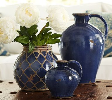 """Summit Vases #potterybarn for kitchen shelf or living room book shelves small 7.5""""H Medium with netting 10""""H Small $30 Medium avail in store"""