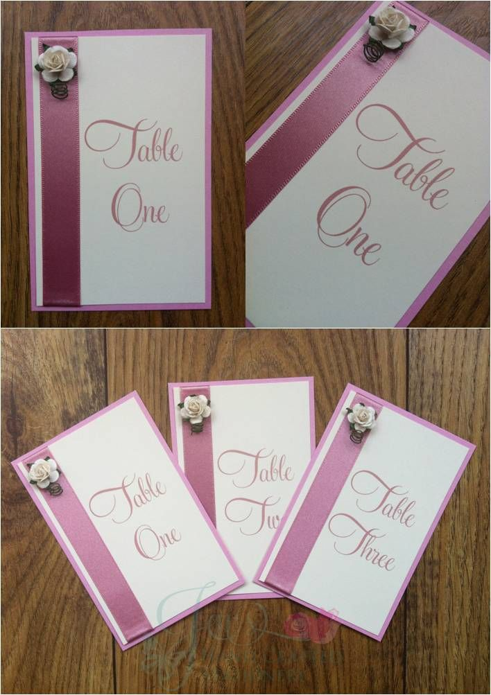 Dusky Pink Rose Wedding Table Numbers  www.jenshandcraftedstationery.co.uk www.facebook.com/jenshandcraftedstationery