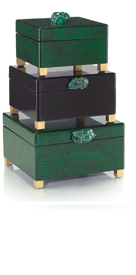 Luxury Christmas Gifts Ideas, Designer Faux Malachite Dressing Table Boxes,  Trending Hollywood Interior Design