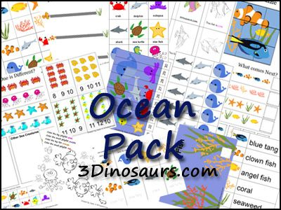 Free Ocean Preschool Pack by 3Dinosaurs.com!