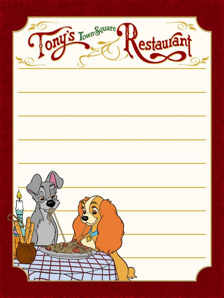 "Tony's Town Square Restaurant - Lady & the Tramp - Magic Kingdom - Project Life Journal Card - Scrapbooking ~~~~~~~~~ Size: 3x4"" @ 300 dpi. This card is **Personal use only - NOT for sale/resale** Logo/clipart belongs to Disney. Swirls from www.clker.com *** Click through to photobucket for more versions of this card including ones without Lady & the Tramp ***"