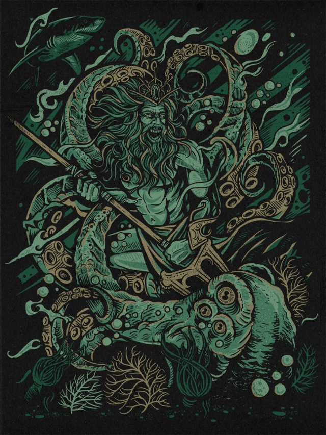 Greek God Poseidon Engaged in an Illustrated 'Kraken Battle'