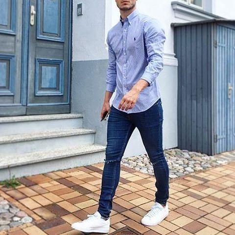 @fuankro via @outfitsociety #streetfashionchannel  ____  Shirt: Ralph Lauren Shoes: Nike