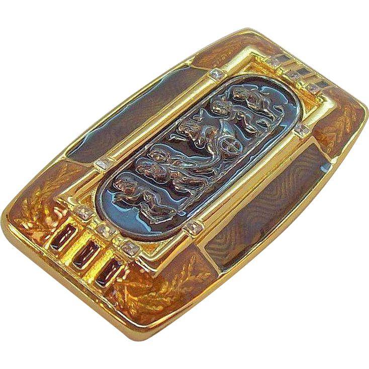 Vintage Edgar Berebi Habsburg Palace Goldtone Metal Enameled Brooch  Limited Edition. found at www.rubylane.com #vintagebeginshere