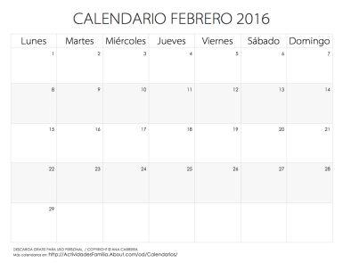 Calendario de celebraciones en Febrero de 2016: Descarga gratis para uso personal