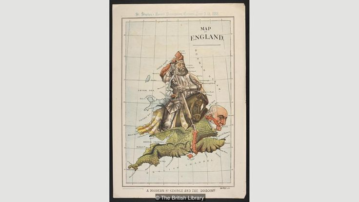 "William Mecham / ""Map of England. A modern St George and the dragon!!!"", 1888, anthropomorphic map of Britain comments on Home Rule for Ireland, with Conservative Prime Minister Lord Salisbury (anti) as knight stabbing dragon William Gladstone of the Liberal party (pro) / The British Library, London, UK"